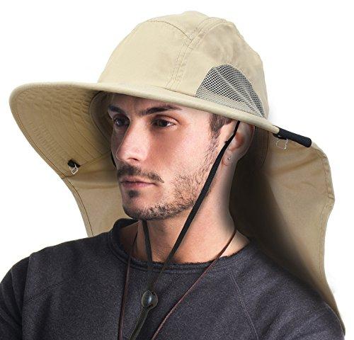 Keklle Unisex Sun Hat with Neck Flap/Wide Brim/Adjustable Strap Fishing Camping Cap