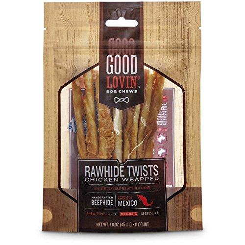 Good Lovin' Chicken Wrapped Rawhide Twist Dog Chews, Pack of 11, 1.6 OZ - Dog Treats Good Chicken