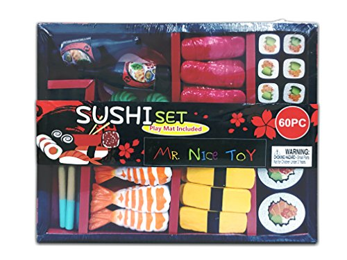 - Mr. Nice Toy MIG-170844SDS 60 Piece Sushi Set Complete with Bento Box and Play Mat, multi