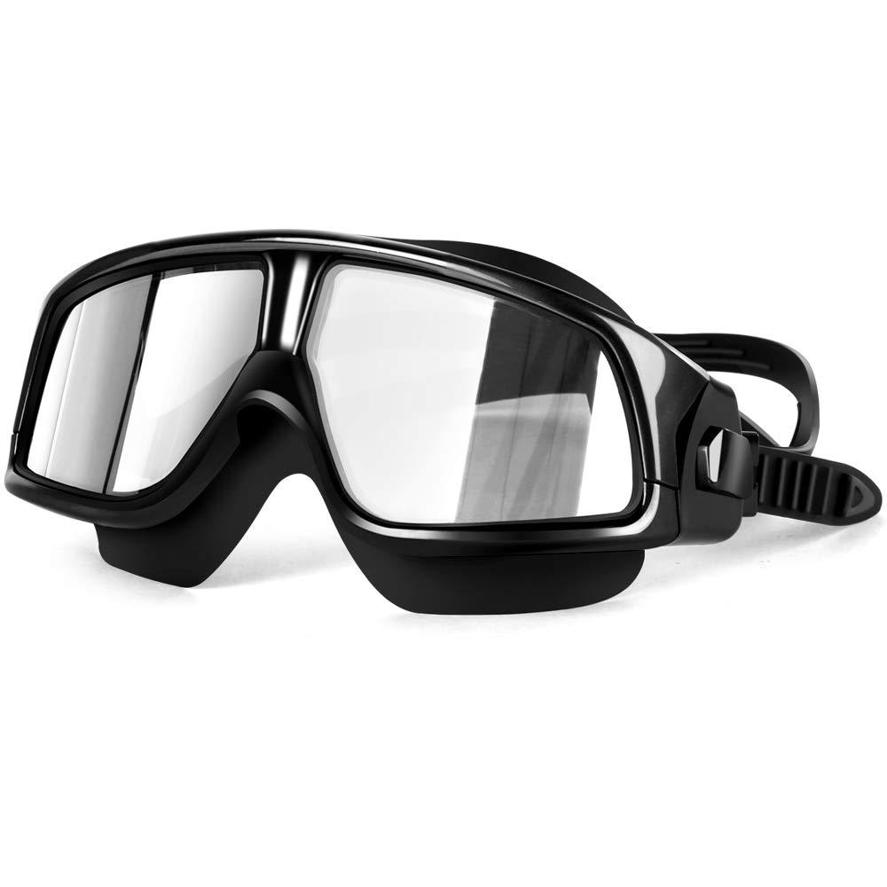 Nicstyle Swimming Goggles - No Leaking Swim Goggles Anti Fog UV Protection Triathlon Swim Glasses for Adult Men Women Youth (Black)
