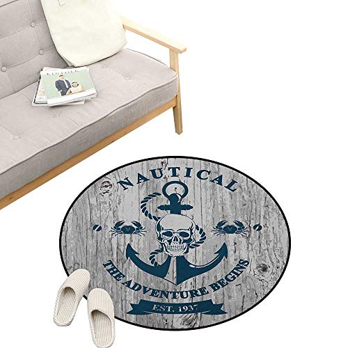 - Anchor Round Area Rug Super Soft Anti-Slip ,Art with Anchor Skull Rope Nautical The Adventure Begins Message Historic, Children Girls Room Decorato 47