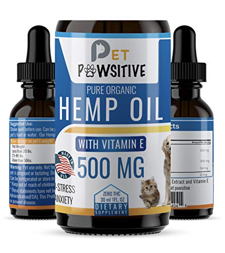 - Pet Pawsitive - Hemp Oil Dogs Cats - 500mg - Seperation Anxiety, Joint Pain, Stress Relief, Arthritis, Seizures, Chronic Pains, Anti-Inflammatory - Made in USA – 100% Organic – Calming Drops