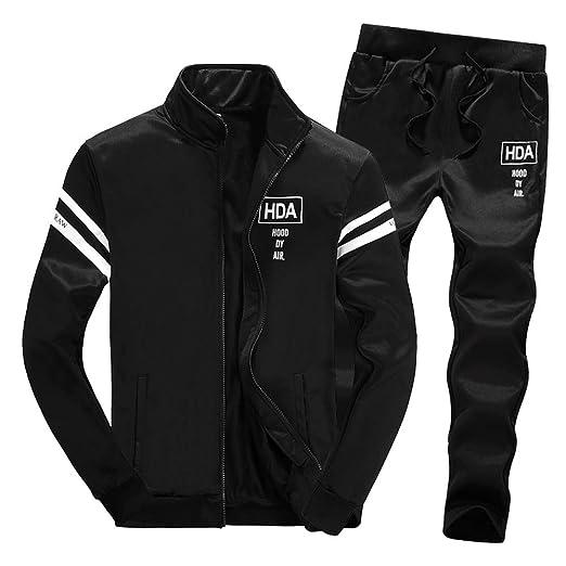 b4ea243aaf Tracksuit BOOMJIU Men's Long Sleeve Pant Sport Sweat Suit Set with Full Zip  Black