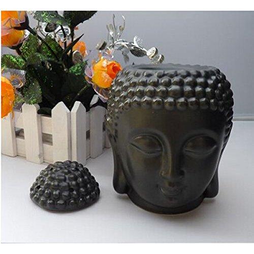 Buddha Ceramic Aromatherapy Furnace Essential Oil Burner Candle Aroma Lamp (Black)