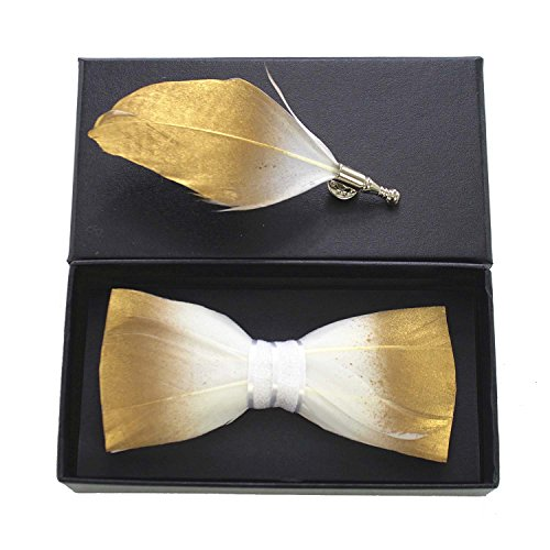 RBOCOTT Mens Handmade Feather Pre-tied Bow tie and Brooch Sets (gold/white)