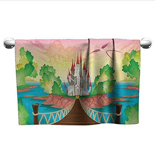 (Bensonsve Floral Hand Towels Children,Princess Castle Above Wooden Bridge and Phoenix Bird Fairy Dream World Girls Image,Multicolor,Rustic Towel Racks for Bathroom)