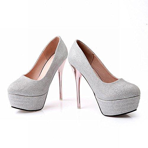 Mee Shoes Damen Stiletto Geschlossen runde Plateau Pumps Silber