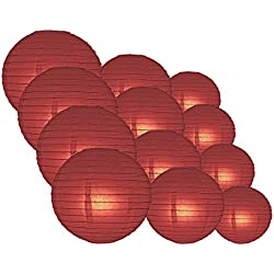 "Quasimoon PaperLanternStore.com Round Paper Lanterns 12pcs Assorted Combo Party Pack - (12/10/8"") Even Ribbing, Marsala/Burgundy Wine -"