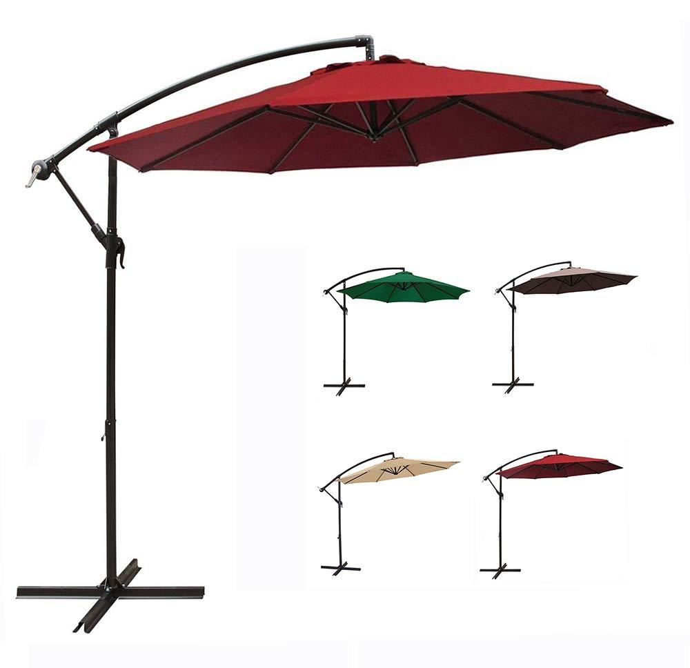 MCC Direct 3 m Patio Parasol Cantilever Hanging Garden Beach Banana Umbrella Canopy (Beige)