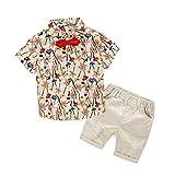Kimocat Boy Casual Clothing Set Beige Prints Button-Down Shirt Short Sleeve+White Pants(2T, Beige)