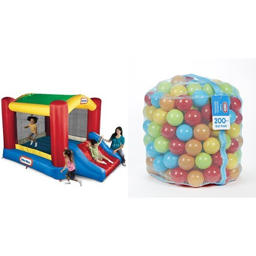 Little Tikes Shady Jump n Slide Bouncer and 200 Ball Pack Bundle