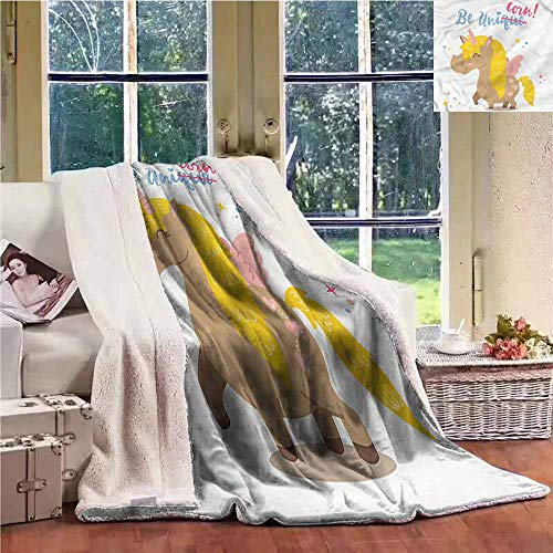 Fleece Blanket Unicorn Funny Kids Quote Vivid for Family and Friends Weighted Blanket W59x31L -