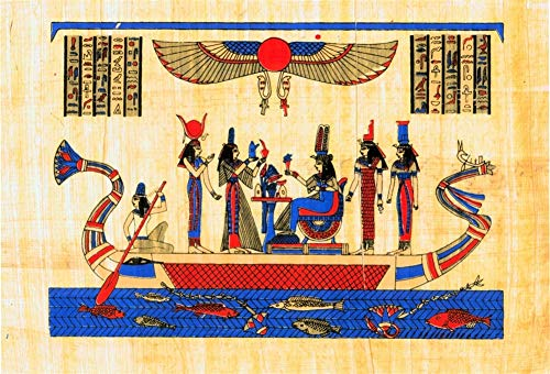 (Yeele 7x5ft Ancient Egyptian Papyrus Mural Photography Backdrop Papyrus Coloring Wall Paintings Egypt Queen Background for Pictures Pharaoh Hieroglyphic Travel Vacation Photo Shoot Studio Props)