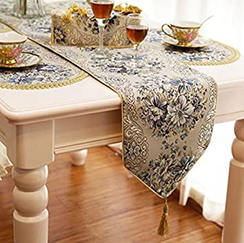 Bon ZebraSmile Luxury Jacquard Blue Table Runners For Dining Table Decoration  Home Dining Polyester Table Runner With
