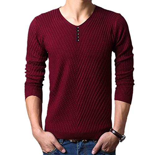 (AMAZING AMAZING M-4XL Winter Henley Neck Sweater Men Cashmere Pullover Christmas Sweater Mens Knitted Sweaters,Burgundy,XL)