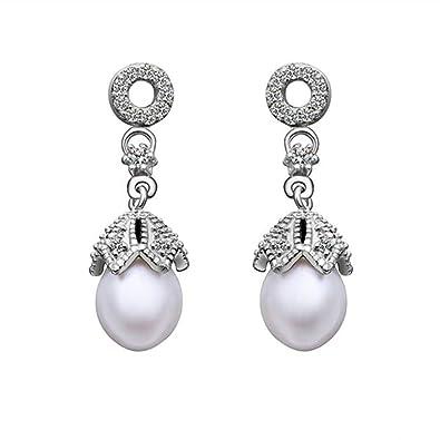 74fb9351b8ab KNSAM - Pendientes Plata Mujer Redondo Perla Cristal Bañado con Plata 925  Aretes para Novias  Amazon.es  Joyería