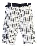 Gioberti Men's Plaid Belted Cargo Shorts