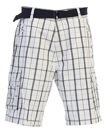 Gioberti Men's Plaid Belted Cargo Shorts