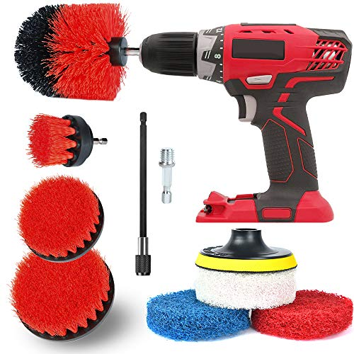 Drill Brush Attachment Set All Purpose Power Drill Attachments, Power Scrubber Brush Cleaning Kit for Cleaning Grout, Tile, Counter, Shower, Floor, Kitchen, Fits Most Drills (9 Pack- Red) (Red Shower)