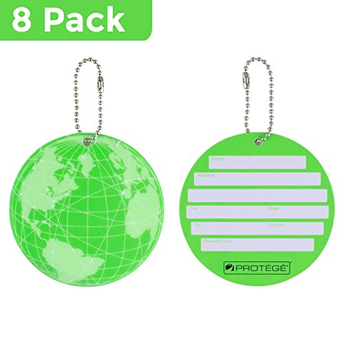 Protege Neon Round EZ ID Luggage Tags, Green Family Pack (8 (Green Neon Luggage Tag)