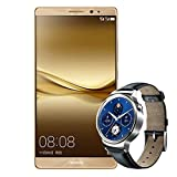 Huawei mate8 and Huawei Watch W1 Combo 4GB RAM 64GB ROM Android 6.0 Octa Core 4G LTE Dual Sim Full Active Smartphone Gold + Silver Frame Leather Belt Android IOS Bluetooth Smart Wrist Watch Silver I