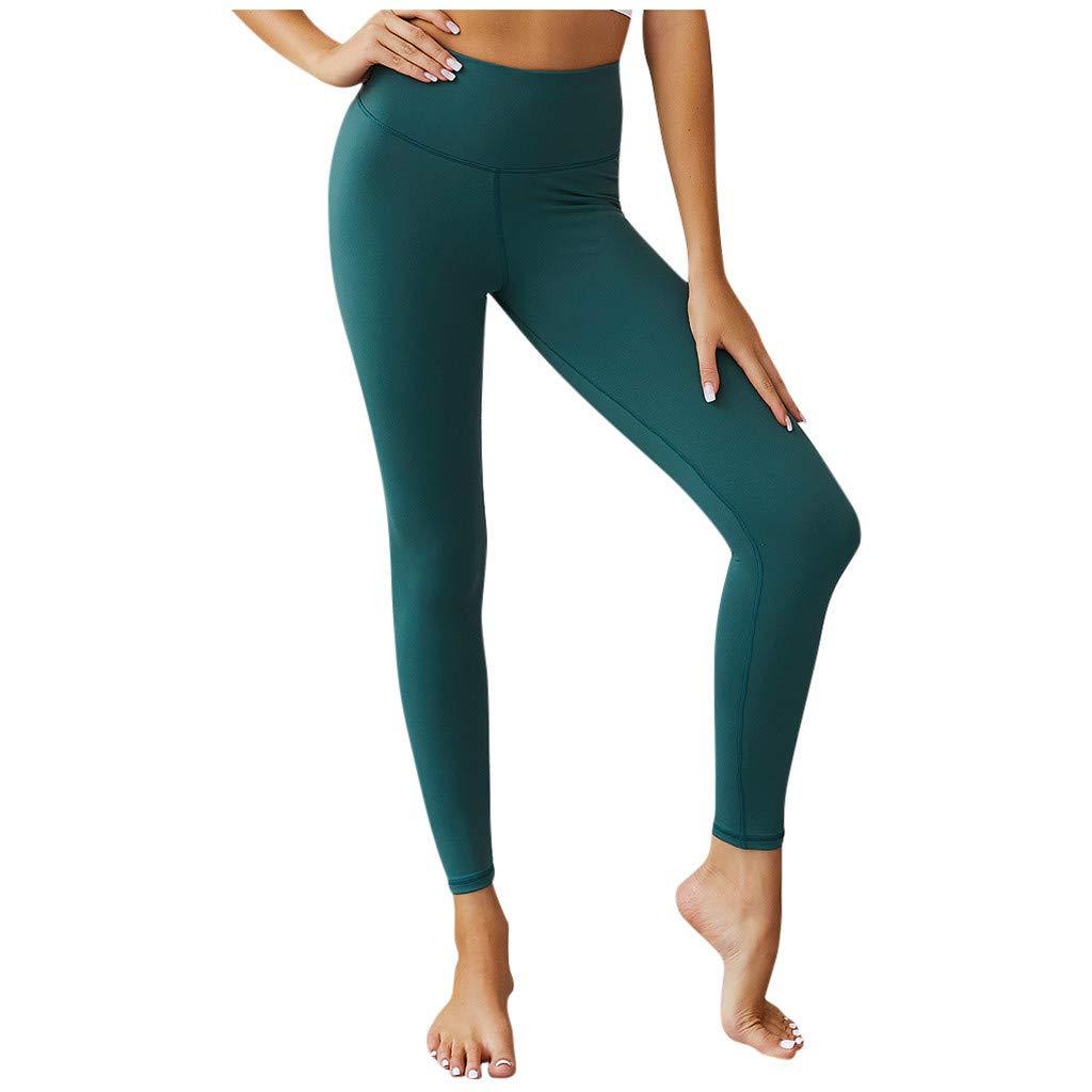 Gocheaper Fashion Womens Solid Sport Leggings Casual Elastic High Waist Fitness Yoga Pants(Mint Green,L) by Gocheaper Yoga Pants