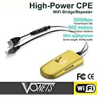 VONETS VAP11G-500 Industrial Grade Wireless High-Power Mini WiFi Repeater/AP Client/Bridge/Booster/Extender/Amplifier,USB Adapter,RJ45 Connector-500Meters Strong Coverage 300Mbps(Yellow)