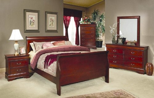 Coaster 200431KW Louis Philippe Cal King Sleigh Panel Bed In Cherry
