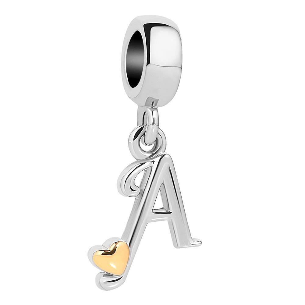 CoolJewelry Golden Heart A-Z Letters Initial Charms Dangle Beads for Snake Chain Bracelets pandöra charms