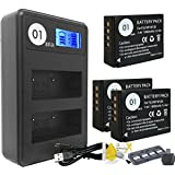 DOT-01 3x Brand 1800 mAh Replacement Fujifilm NP-W126 Batteries and Smart LCD Display Dual Charger for Fujifilm HS30EXR Digital Camera and Fujifilm NPW126 Accessory Bundle