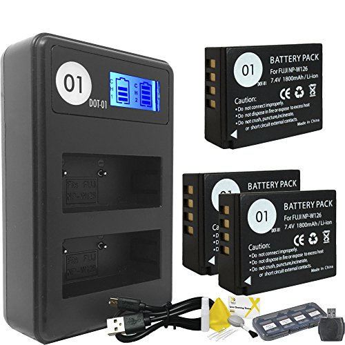 DOT-01 3x Brand 1800 mAh Replacement Fujifilm NP-W126 Batteries and Smart LCD Display Dual Charger for Fujifilm X-M1 Digital Camera and Fujifilm NPW126 Accessory Bundle by DOT-01