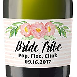 """Bride Tribe II"" Mini Champagne Wine Bottle Custom Label Sticker for Bridal Shower Party, Engagement, Wedding Gift, Bachelorette, Elopement Invitation - Specialized Personalized Bespoke Set of 8"