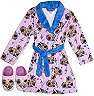 L.O.L. Surprise! OMG Robe with Slippers,LOL OMG Bathrobe Pajama Set,Girls Size 4/5 to 10/12
