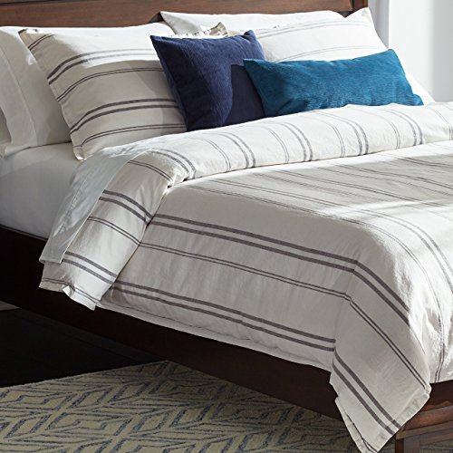 Rivet Classic Maxwell Garment-Washed Stripe Duvet Cover Set, King, White with Gray Stripe by Rivet (Image #2)