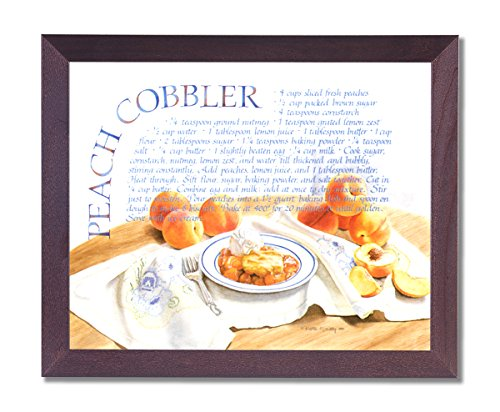 Peach Cobbler Pie Home Kitchen Recipe Cafe Picture Framed Art Print