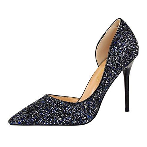 blanc À Des Bleu mode Talons Fine chaussures escarpins argent Avec Féminine rouge gris Foncé Chaussures noir Creuses Paillettes Hauts or Sandales or Challeng Rose bleu Plates wOnv7RR