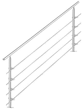 LZQ Edelstahl-Handlauf Gel/änder f/ür Treppen Br/üstung Balkon mit//ohne Querstreben 150cm, ohne Querstreben