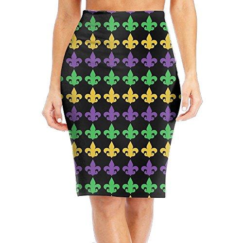 CAWHJDW Mardi Gras Fleur De Lis Women's High Waist Bodycon Midi Pencil Skirt Slimming Slim Office (Fleur De Lis Skirt)