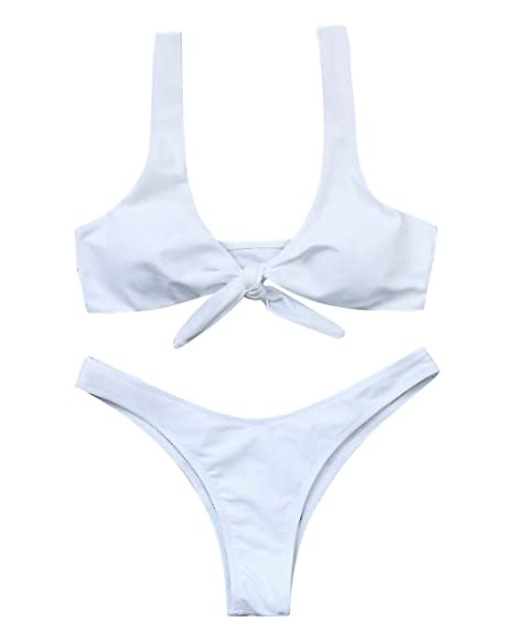 468ae232c7fd2 Amazon.com  OMKAGI Women s Halter U Neck Bandage Bow Tie Bikini Sets  Brazilian Two Pieces Swimwear Swimsuit  Clothing
