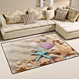 WOZO Seashells Starfish Summer Beach Sand Area Rug Rugs Non-Slip Floor Mat Doormats Living Room Bedroom 60 x 39 inches Review