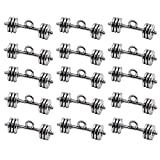 JETEHO 30 Pack Dumbbell Sport Charms Pendant Jewelry Findings for Jewelry Making Necklace Bracelet DIY 25x8mm (Antique Silver)