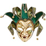 Full Face Venetian Jester Mask Masquerade Green Hand Painted Joker Wall Decorative Art Collection (Green)