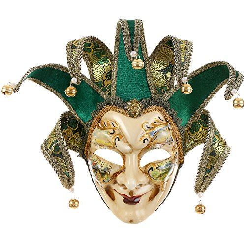 Full Face Venetian Jester Mask Masquerade Green Hand Painted Joker Wall Decorative Art Collection -