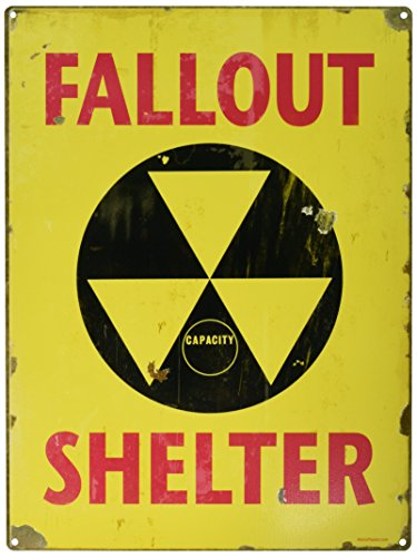 Fallout Shelter Yellow Distressed Steel Sign Vintage Style 12 x 16