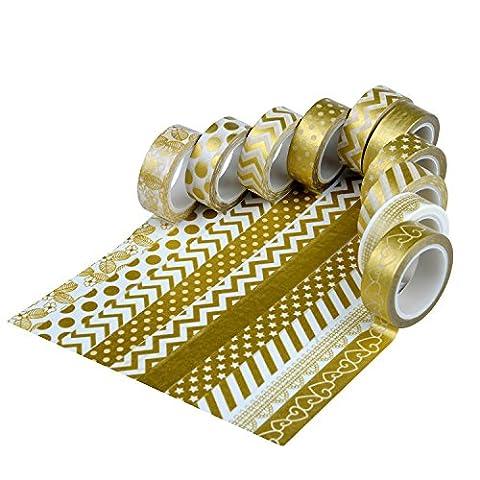Furnizone Decorative Masking Tape Set of 6 Rolls Washi Japanese Decor Crafty Tape Sticker for DIY Scrapbook - Magnetic Circle Cutter