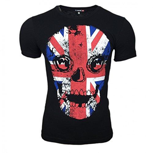 London Flag Kurzarm Herren T-Shirt Flagge Shirt Skull Shirt Schwarz Grau Weiß, Größe:L, Farbe:Schwarz