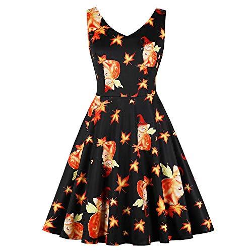 iYBUIA Novelty Women's Sleeveless V-Neck Swing Dress 3D Cat Pattern Print Swing Dress(Black,CN:XL/US:10) -