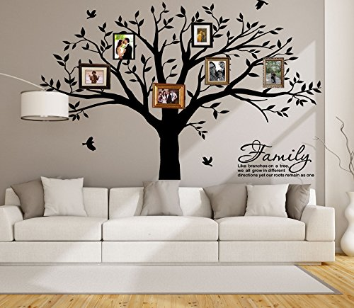LSKOO Large Family Tree Wall Decal With Family Llike Branches on a Tree Wall Decals Wall Sticks Wall Decorations for Living Room (Black) by LSKOO (Image #5)