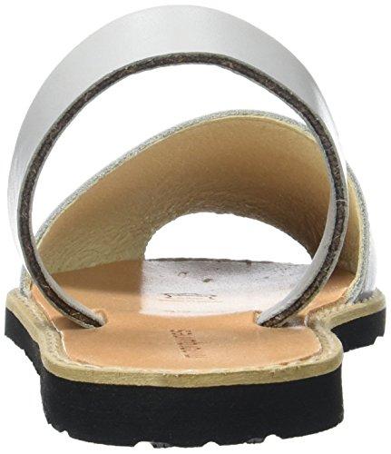 Minorquines Avarca - Sandalias de Talón Abierto Mujer Gris (Perla)