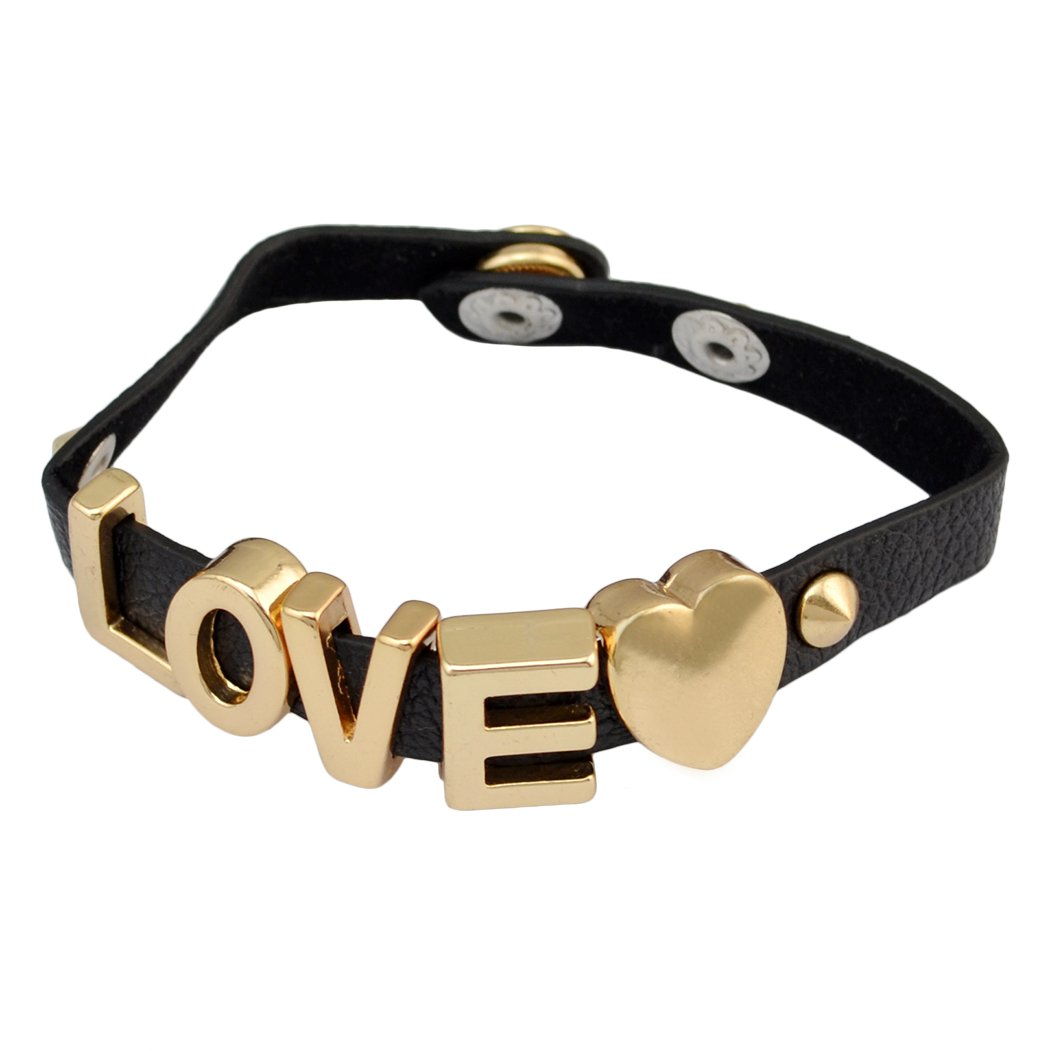 idealway Punk PU Leather Alloy Letter HOPE LOVE SWEET Bracelet PUDDIN Choker Necklace B-0832